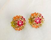 Flower Earrings, Orange, Yellow, Pink, Bouquet Earrings, Studs, Jewelry, Stud Earrings, Floral Earrings, Vintage, SALE