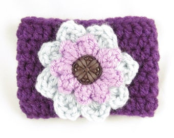 Crochet Coffee Cup Sleeve - Dark Purple with Light Gray and Lavender Flower