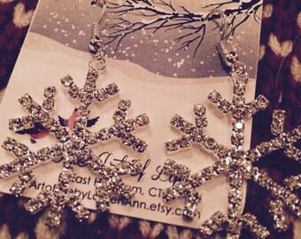 Custom for Amy Crystal Snowflake Earrings
