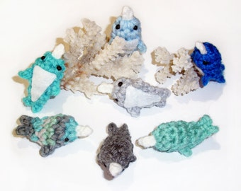 12 Micro Mini Narwhal Plushies - One Dozen 2 inch Tiny Stuffed Animals, Made To Order