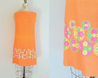1960s Dress // Orange Crush Dress // Vintage 60s Orange Shift Dress // Linen Dress // Large
