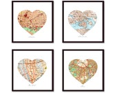 Personalized Heart Map, Unique Anniversary Gift, Map Art, Wedding Gift, Mothers Day Gift, for Mom, Heart Set of 4 Map Art Prints