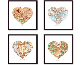Heart Map Art, Anniversary Gift, Personalized Map Husband Gift, First Anniversary Gift, Wedding Gift, Paper Anniversary, 4 Map Prints