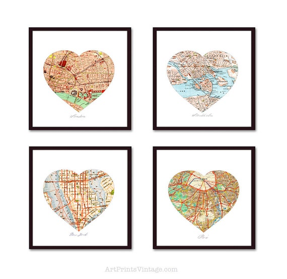 Heart Map Unique Anniversary Gift, First Anniversary Gift, Map Art, Husband Gift, Wedding Gift, Paper Anniversary, 4 Personalized Map Prints