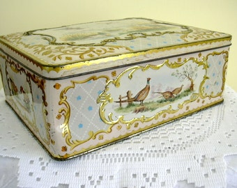 Vintage British English Ornate Birds Pheasant Water Fowl Ducks Collectible Shabby Chic 1950s Tin Biscuit Box CWS Co-operative Society