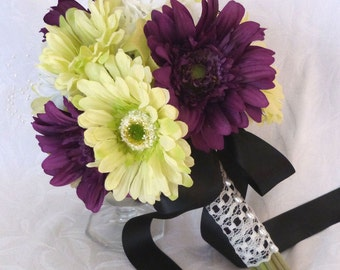 Gerbera bridal bouquets green and violet gerbera daisy wedding bouquet and boutonniere package