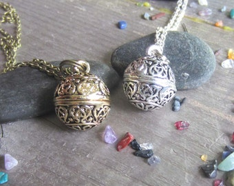 mystical wish necklace locket with crushed crystals wiccan jewelry witchy prayer box occult secret compartment witchcraft pagan jewelry