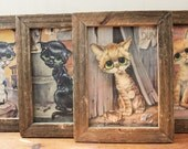 4 BIG EYES cat framed pictues. Girard Goodenow Ready to hang GIG Kitch Pitty Kitty Painting **Price Drop**