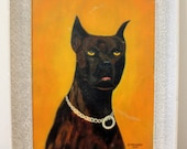 This Doberman 'can't even' MUST SEE funny dog painting. Great Gift. Vintage 1955