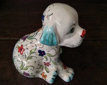 Vintage English Puppy Dog with Flower Pattern Figurine circa 1960-70's / English Shop