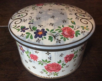 Vintage French rose round storage tin box container pot circa 1960's / English Shop