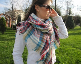Red turquoise blue tartan plaid blanket scarf/oversize blanket scarf/wraps shawl-men's scarves-women's scarves-man fashion gifts for him-her