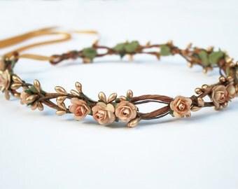 Blush Pink Flower Crown, Tiara, Gold, Rose Gold, Bridal Head Piece, Flower Girl Crown, Boho, Bridal flower Crown, Pink Flower Hair Wreath