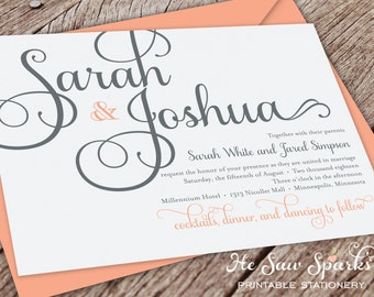 Printable Wedding invitation - Calligraphy, pretty, gray, peach,