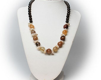 Agate, Amethyst and Sea Shell Necklace