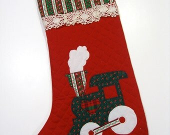 Christmas Stocking  Quilted, Appliqued  Red Train First Christmas