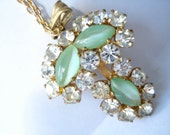 Vintage Necklace Clear Rhinestones And Pale Green Satin Glass  1950's