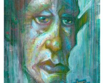 "Original, OOAK portrait painting ""DESPONDENT"" by Tom Taggart"