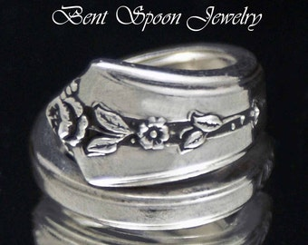 Spoon ring, Spoon Jewelry, Spring Garden 1949, upcycled Silverware Spoon Ring Size 7, Silverware Jewelry