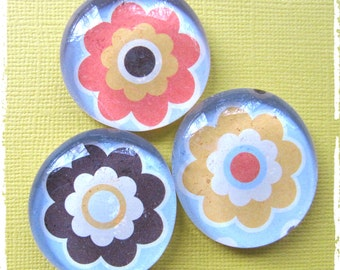 Glass Pebble Magnets - Retro 60's Flowers Orange-Yellow- Brown Set of 3 -- Kitchen Magnets - Office Decor - Magnet,