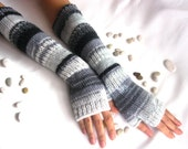 Extra LONG Fingerless Gloves with a cable pattern