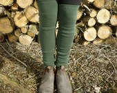 ON SALE - Organic Merino Wool Leg Warmers - Embroidered Details - Shown in Olive - Made to Order