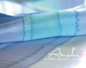 Silk shawl blue stripes, silk scarf handpainted long - Hand painted silk accessories OOAK for order