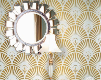 Gatsby Glam Art Deco Wall Stencil for Painting Glam Wallpaper Accent Wall