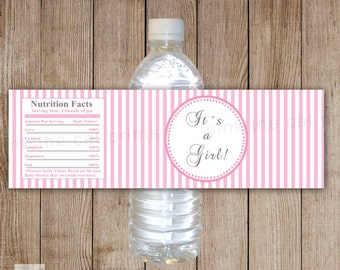 Baby Shower Bottle Labels Baby Shower Bottle Wrappers - Its a Girl Printable White Pink Stripes Lines Wraps INSTANT DOWNLOAD