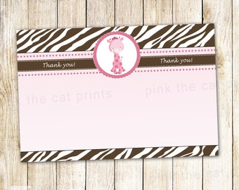 Giraffe Thank You Card - Baby Girl Shower Birthday Party Notes Pink Brown Zebra INSTANT DOWNLOAD