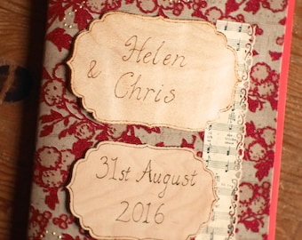 Music themed personalised guestbook, handmade personalized red wedding guest book, Diary, Notebook, Scrapbook, Valentine's, pyrography