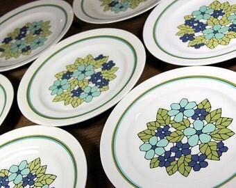 Vintage Franciscan Cantata Dinner Plates - 6 piece set - Green, Blue, Floral, Mid Century