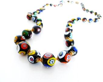 Vintage Millefiori Murano Venetian Black Art Glass Gold Tone Necklace