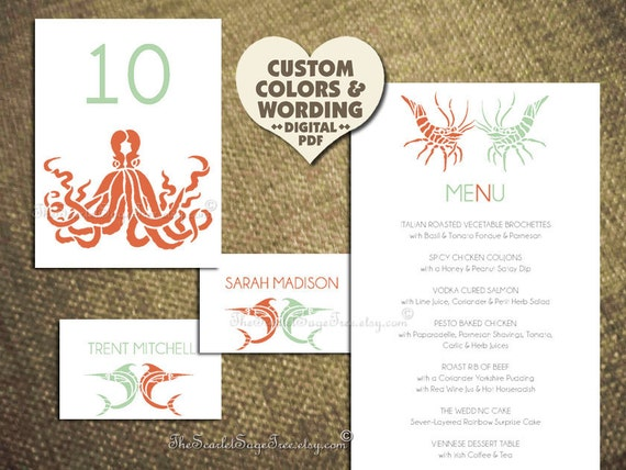 PRINTABLE BEACH Wedding Menu Pdf Template Nautical DIY Invitation Suite Rustic Coral Idea Elegant Table Decor Theme Paper Goods Online Cheap