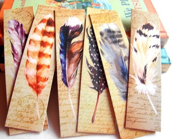 Bookmarks - Bird Feathers On Vintage Script Gold Gray Blue Lavender White Nature Inspired Quill Feathers - Set Of 6 Large Paper Bookmarks