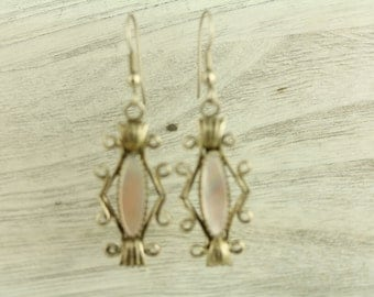 Old Indian MOP Native American Dangle Hand Made Sterling Silver Earrings (ET244 )