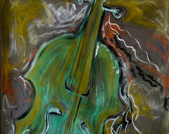 The Green Violin an Original pastel Painting 19.75 x 25.5