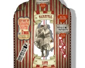 Valentine Card kit DIY  instant circus kissing booth download collage sheet