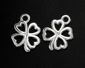 2 of 925 Sterling Silver  Leaf  Clover Charms 12 mm. :th1611