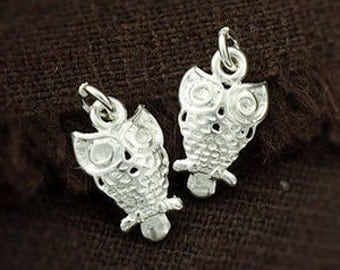 2 of 925 Sterling Silver Tiny Owl Charms  8x11mm. :th2196