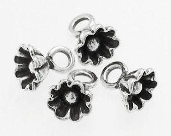 4 of Karen Hill Tribe Silver Flower Charms 7 mm. :ka4076