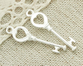 4 of 925 Sterling Silver Key to my Heart Charms 6.5x22 mm. :th2229
