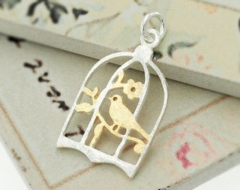1 of 925 Sterling Silver Two Tone Gold & Silver bird on a perch  Pendnat . :th2089