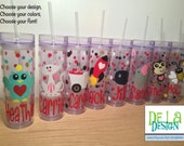 Cute Valentine's day Personalized acrylic tumbler, w/name, Available in skinny, standard, sip top, sport bottle, mason, Vino2go, gift