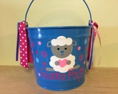 Personalized Easter basket, 10 quart metal bucket, name or monogram, polka dots, Easter, baby, or birthday gift, lamb or other design