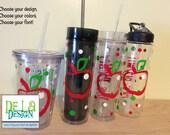 Apple teacher gift, Personalized w/name acrylic tumbler, polka dots, Available in skinny, standard, sip top, sport bottle, mason, Vino2go
