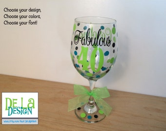 Milestone Birthday Personalized Wine glass, Extra large 20 oz, name and polka dots, Choose your saying Fabulous 40, Fantastic 50, etc