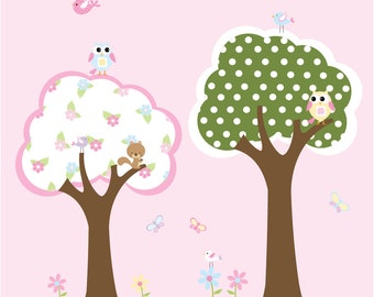 Wall decals vinyl wall decal tree with owls birds wall stickers