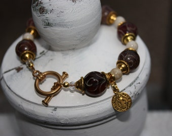 St. Benedict Medal Bracelet in Tibetan Agate beads and Toggle clasp