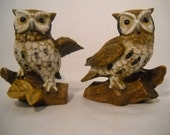 Vintage Homco Owl Figurines Porcelain Horned Owls